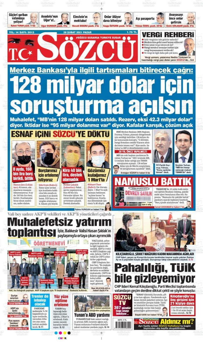 Sözcü Gazete Manşeti